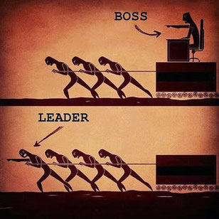 Showing the difference between a boss or manager and a leader