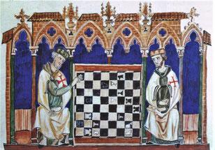 Reproduction © J.Fuguet d'après le Livro de los juegos, de ajedrez, dados y tablas. Bibliotheca del Real Monasterio de El Escorial, ms T-1, fol.25. Temple de Paris