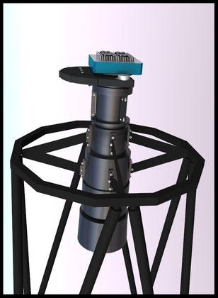 For å få tilgang til primærfokus, er sekundærspeilet avtagbart. En Apogee U16M og filterhjul er montert på en Wynne-korrektor.