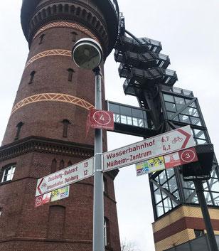 Das Aquarius-Wassermuseum in Mühlbeim mit Radwegschildern.