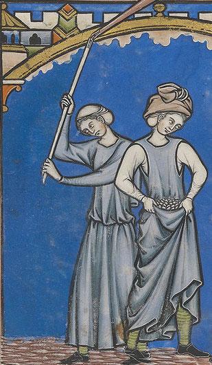 Zwei Frauen bei der Feldarbeit. Auch hier erkennt man sehr schön die Kleidung. Die Frau auf der rechten Seite trägt ein ärmelloses Surcot.