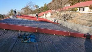 嵌合立平葺き 施工画像 カラーガルバリュウム鋼板