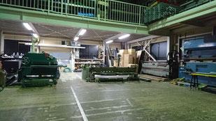 工場内風景 ロータリーシャー 2m手動切断機