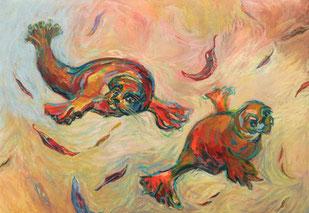 nine-winderlich-malerei-robben-blätter-herbst-gelb-rot-bild