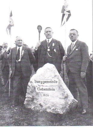 v.l. Fritz Reich,  Hermann Belz,  Erich Luthardt, Aufnahme vermutlich vor dem Dreiherrnstein - Archiv W.Malek