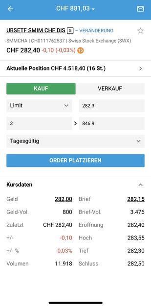 Darstellung aus der App von Degiro: Kauffenster