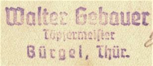 Stempel Gebauer Bürgel Töpfermeister