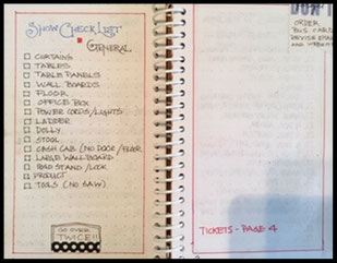 I have pages, like this 'Show Check List' that need to be at the beginning of every book. So when I start a new planner I just transfer it over.