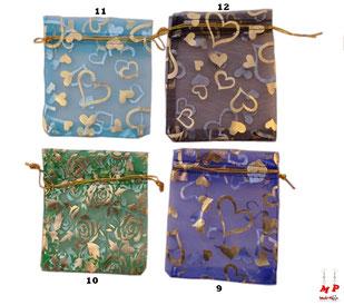 Pochettes cadeaux organza différents motifs et couleurs