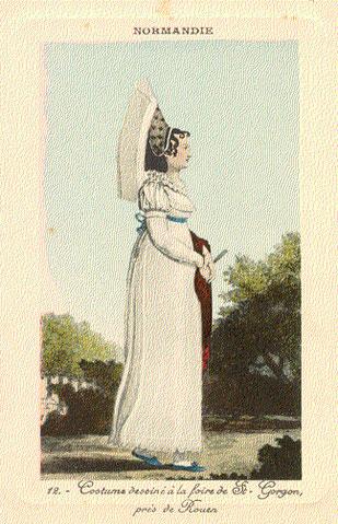 Feune fille se rendant à la foire Saint Gorgon, planche du Lanté-Gatine