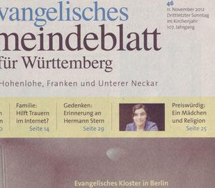 Evangelisches Gemeindeblatt für Württemberg 46 / 2012, Titelseite