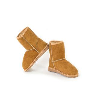 Botte enfant bottes chaussures montantes hautes en peau d'agneau double face peau de mouton retournée cuir peau lainée fille garçon mixte pointure 26-27-28-29-30-31-32-33