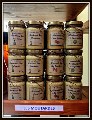 moutardes au Calvados, au Pommeau, à la pomme, à la framboise,