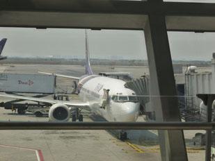インドのガヤー空港に向かうタイ航空機