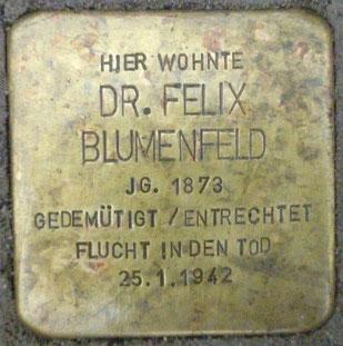 Stolperstein vor dem Haus der Familie in der Fürstenstraße (heute Zugo-Preuß-Straße 35