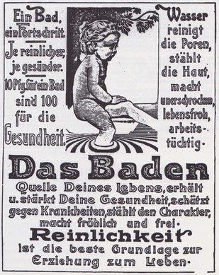 Preisgekröntes Plakat des Kunstmalers Hans Hammer (1878-1917) das die Nutzung von Bädern propagiert.