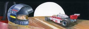 James Hunt - michel verrando - art automobile - peinture paint