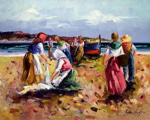 Cuadro con pescadores en la playa
