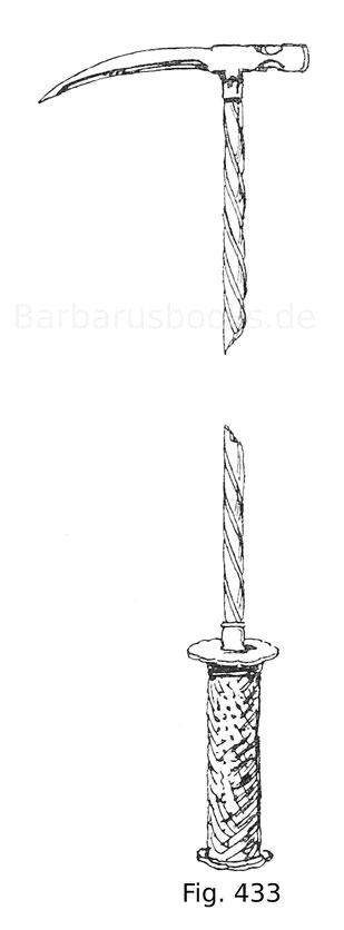 Fig. 433. Kleiner Reiterhammer des Herzogs von Urbino, Francesco Maria von Rovere-Montefeltre (1491—1538) aus Eisen. Italienisch. Um 1580.