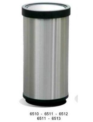 6510, 6511, 6512, 6513.Basurero Cilíndrico con Aro Plástico Balancín Inoxidable. Medidas: 29X30 cm, 29X61 cm, 40X67 cm y 49X80 cm respectivamente