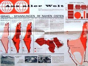 """Wandzeitung der Sparkasse für Schulen 1960er Jahre. """"Aus aller Welt"""". In Zusammenarbeit mit dem Bundesministerium für Unterricht."""