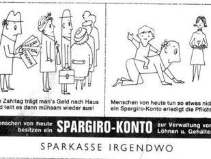 Entwurf Inserat für Sparkassenwerbung um 1960.