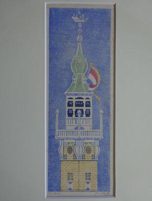 Jan Heyse Veere kunstenaar, schilderij, linoleumsnede stadhuis Veere te koop