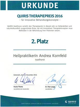Urkunde für den 2. Platz beim Quiris-Therapiepreis 2016