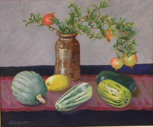 ゴロゴロ野菜とざくろ 油彩 20号