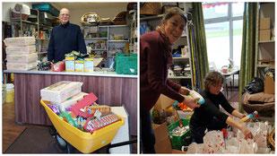 Spendenannahme und Weihnachtstüten packen