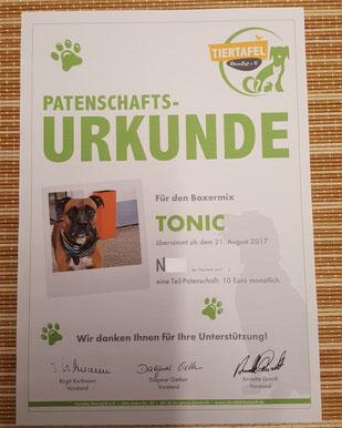 Patenschafts-Urkunde der Tiertafel RheinErft e.V., Foto: Oetken