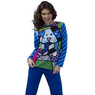 Damen Pyjama Britto lila mit Hundemotiv