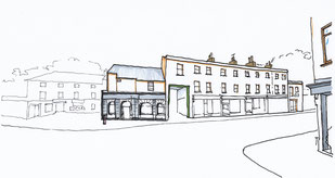 Sketch of the existing property viewed from Love Lane by Heidi Mergl Architect
