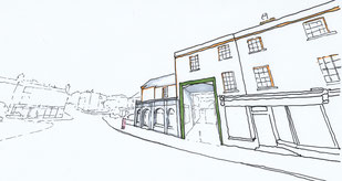 Sketch of the existing property on Hawley Street by Heidi Mergl Architect