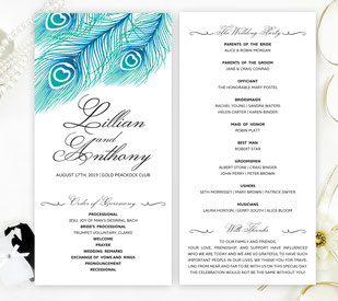 peacock wedding ceremony programs