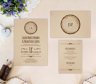 Tree stump wedding invitation sets