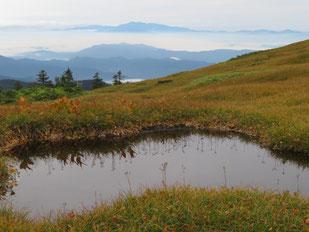 池塘と白山(後方)