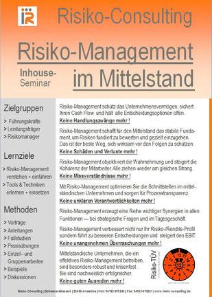Risiko-Consulting: Inhouse-Seminar - Risiko-Management im Mittelstand.