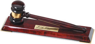 """Rosewood Piano Finish 10"""" Gavel with Stand"""