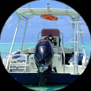 Comfortable boat of HiRO DiVE BORA BORA
