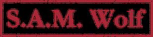 Das Logo von sam wolf: S.A.M. Wolf in roten Buchstaben, rot umrahmt, im Stempel-Look