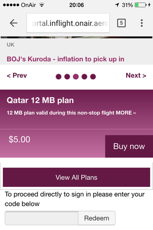 Qatar Airways A350XWB inflight internet