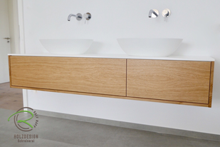 Eiche Holz Waschtisch massiv auf Maß mit weißer Ablage u. Aufsatzbecken