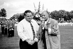 Berni Becks mit Sportjournalist Dieter Adler, der das LAZ-Meeting lange Jahre moderierte und in diesem Jahr 80 Jahre alt wurde.
