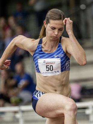 Dreispringerin Klaudia Kaczmarek gab im letzten Durchgang noch einmal alles.