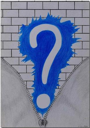 Bild:Fragezeichen,Farbstift,Bleistift,Mauer,Reissverschluss,Wasser,Prosa,David Brandenberger,d-t-b.ch,d-t-b,