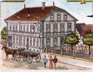 Ehemaliges Gasthaus zur Rose, erbaut 1897 – heute Sparkasse Flehingen