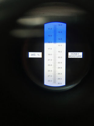 Blick in ein Refraktometer um den Wassergehalt im Honig zu bestimmen