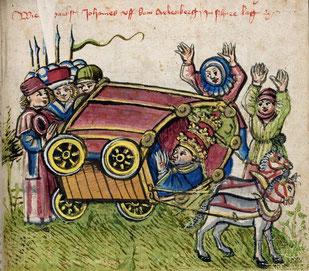 Ein Exemplar der Chronik Ulrich von Richentals (Konstanz um 1470) kam 1806 von Villingen nach Karlsruhe.     © Bad. Landesbibliothek Karlsruhe