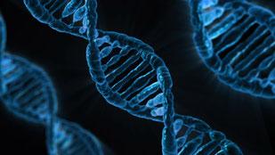 DNA Stränge blau auf schwarzem Hintergrund